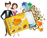 Couple holding restaurant card