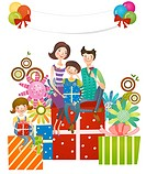 Family sitting on gifts (thumbnail)