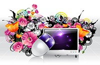 Computer and mouse with flora design (thumbnail)