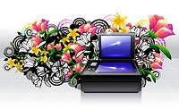 Flat Bed Scanner with flora design (thumbnail)