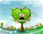 Green Tree with Heart Shape