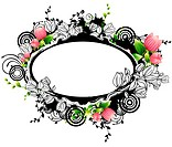 Oval Shape with flora design