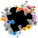 Puzzle shape with flora design