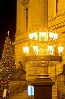 CZECH REPUBLIC PRAGUE. LANTERNS OUTSIDE RUDOLFINUM CONCERT HALL.