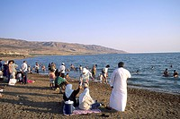 Jordan, Dead Sea, people on beach