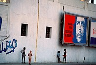 Central America, Cuba, Havana, a Mural of Ernesto Che Guevara on a Street
