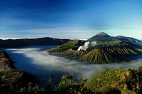 Southeast Asia, Indonesia, Central Java, Mount Semeru and Mount Bromo erupting