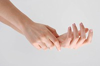 Beautiful woman hands with french manicure