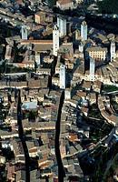 Italy, Tuscany, San Gimignano aerial