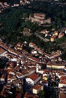 Italy, Friuli Venezia Giulia, Gorizia, aerial view of the town and castle