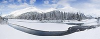 Panorama of Portage Creek and Portage Valley in the Chugach National Forest, Southcentral Alaska, Winter/n