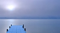 A foggy sunrise over a dock in Lake Whatcom during Winter, Bellingham Washington, USA
