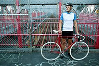 Cyclist on bridge