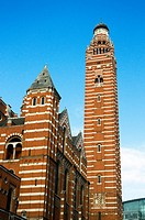 Westminster Cathedral detail, blue sky, sunshine