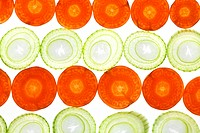 Sliced Vegetables on white