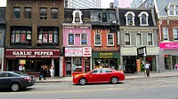Old buildings on Yonge Street. Toronto, Ontario, Canada.
