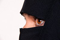 Symbolfoto Islam. Muslim veiled woman with Burqa