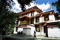 Viewing Palace of the Dalai Lamas Norbulingka summer palace Lhasa Tibet China
