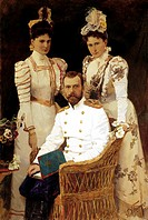 dmitri belyukin, portrait of tsar st nikolai tsaritsa st aleksandra and grand princess st yelizaveta