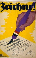 World War I 1914_1918. Poster showing a hand holding a pen and signing a War Bond certificate. German poster, 1918
