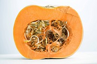 Sprouting pumpkin seeds and fibrous strands within cut pumpkin, cross section