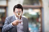Man tasting whine