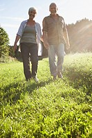 Senior couple walking in meadows