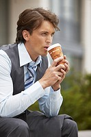 Business man taking a coffee break