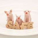 Toy pigs and SAFE sign on a plate.