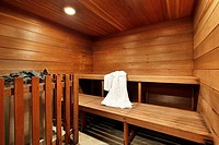 Sauna in luxury home with two wooden decks
