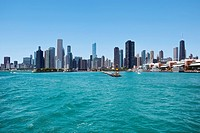 View of Chicago skyline and Navy Pier from Lake Michigan