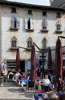 Croatia, Istria, Porec, street scene, restaurant,