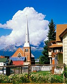 Leadville Colorado USA Church and Cumulus Cloud Highest City in North America