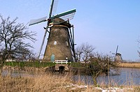 Historical windmills at Kinderdijk, South Holland province, the Netherlands
