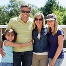 Caucasian family smiling