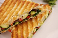 Grilled vegatable sandwich on white background