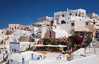 Mediterranean architecture in Oia Village, Santorini, Greece