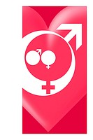 Family gender and love symbols. These male and female symbols are grouped together to represent a family, here a man and woman large symbols with a so...
