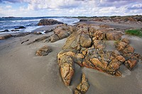 Beach with rocks and sand, Farsund, Norway