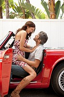 Couple in vintage car