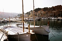 Sailboats in marina on Mediterranean coast