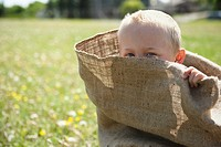 Boy in potato sack
