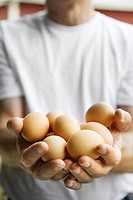 Cook holding brown eggs (thumbnail)