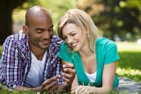 Young couple relaxing in a park
