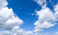 Sunny, blue sky with clouds