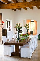 Dining room in rustic villa