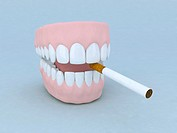 denture and cigarette 3d illustration cartoon