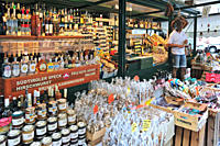 Regional specialities on display in market stall at Brixen / Bressanone, Dolomites, Italy