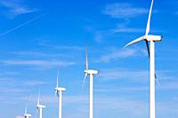 group of wind turbines for renewable electric energy production in Fuendetodos, Saragossa, Aragon, Spain