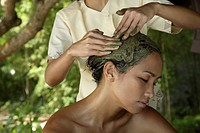 Siro lepam is an Indian treatment thought to revitalize the hair and produce relaxation. After a head massage, a pack of mud and yogurt, or mud and he...